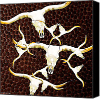 Football Digital Art Canvas Prints - Longhorn Art - Cattle Call - Bull Cow Canvas Print by Sharon Cummings