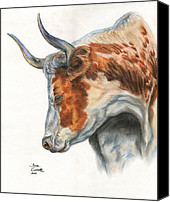 Cattle Pastels Canvas Prints - Longhorn Canvas Print by Jana Goode