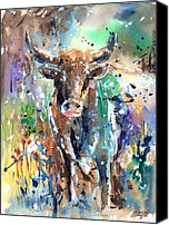 Bulls Canvas Prints - Longhorn Steer Canvas Print by Arline Wagner