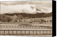 Buy Framed Prints Canvas Prints - Longs Peak - Storm and Fences - Sepia Image Canvas Print by James Bo Insogna