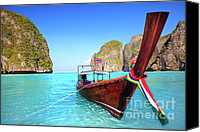 Maya Canvas Prints - Longtail boat at Maya bay Canvas Print by MotHaiBaPhoto Prints