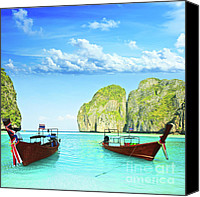 Maya Canvas Prints - Longtail boats at Maya bay Canvas Print by MotHaiBaPhoto Prints