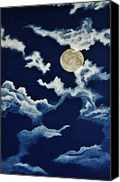 Man In The Moon Canvas Prints - Look at the Moon Canvas Print by Katherine Young-Beck