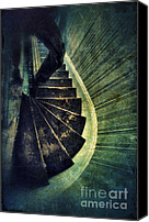 Staircase Canvas Prints - Looking Down an Old Staircase Canvas Print by Jill Battaglia