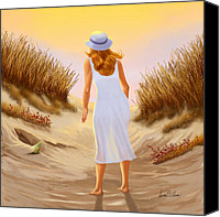 Beach Scenes Digital Art Canvas Prints - Looking for Treasures Canvas Print by Sena Wilson