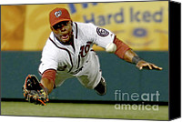 Washington Nationals Canvas Prints - Looking it Into the Glove Canvas Print by Herb Paynter