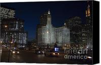 Speeding Taxi Canvas Prints - Looking west and East Wacker Drive in Chicago at the Wrigley Building at night Canvas Print by Purcell Pictures