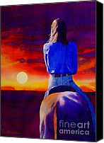 Horseback Canvas Prints - Looking West Canvas Print by Robert Hooper