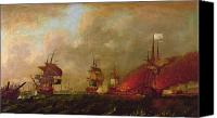 Sail Canvas Prints - Lord Howe and the Comte dEstaing off Rhode Island Canvas Print by Robert Wilkins