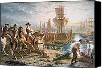 March Canvas Prints - Lord Howe organizes the British evacuation of Boston in March 1776 Canvas Print by English School