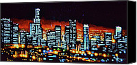 Skylines Painting Canvas Prints - Los Angelas by Black Light Canvas Print by Thomas Kolendra