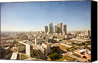Downtown Los Angeles Canvas Prints - Los Angeles Aerial Skyline From City Hall Canvas Print by Alexandre Fundone