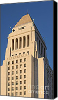 Downtown Los Angeles Canvas Prints - Los Angeles City Hall Canvas Print by Henrik Lehnerer
