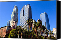 Downtown Los Angeles Canvas Prints - Los Angeles Downtown Office Buildings Canvas Print by Paul Velgos
