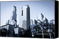 Downtown Los Angeles Canvas Prints - Los Angeles Downtown Skyscrapers Canvas Print by Paul Velgos