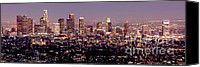Landscapes Photo Canvas Prints - Los Angeles Skyline at Dusk Canvas Print by Jon Holiday