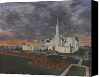 Lds Canvas Prints - Los Angeles Temple Evening Canvas Print by Jeff Brimley