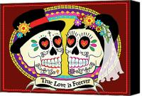 Dia De Los Muertos Canvas Prints - Los Novios Sugar Skulls Canvas Print by Tammy Wetzel