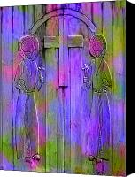Santa Fe Digital Art Canvas Prints - Los Santos Cuates - The Twin Saints Canvas Print by Kurt Van Wagner