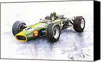 Classic Cars Canvas Prints - Lotus 49 Ford F1 Jim Clark Canvas Print by Yuriy  Shevchuk