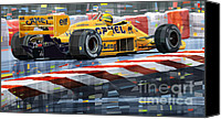 Racing Car Canvas Prints - Lotus 99T 1987 Ayrton Senna Canvas Print by Yuriy  Shevchuk