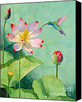 Japanese Canvas Prints - Lotus And Hummingbird Canvas Print by Robert Hooper