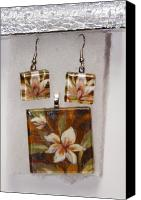 Pendant Jewelry Canvas Prints - Lotus flower pendant and earring set Canvas Print by Darleen Stry