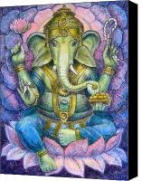 Mystical Canvas Prints - Lotus Ganesha Canvas Print by Sue Halstenberg