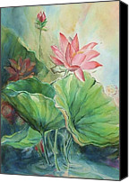 Lotus Full Bloom Canvas Prints - Lotus of Hamakua Canvas Print by Wendy Wiese
