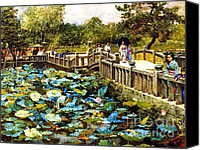 Lotus Pond Canvas Prints - Lotus Pond  Shiba Tokyo Canvas Print by Pg Reproductions