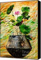 Pink Canvas Prints - Lotus Tree In Big Jar Canvas Print by Atiketta Sangasaeng