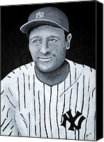 Major League Baseball Painting Canvas Prints - Lou Gehrig Canvas Print by Edwin Alverio