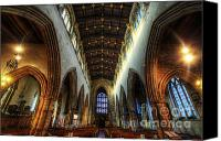 Lights Framed Prints Canvas Prints - Loughborough Church Ceiling And Nave Canvas Print by Yhun Suarez