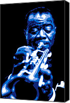 Blues Digital Art Canvas Prints - Louis Armstrong Canvas Print by Dean Caminiti