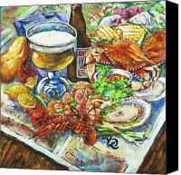 Louisiana Seafood Canvas Prints - Louisiana 4 Seasons Canvas Print by Dianne Parks