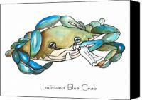 Louisiana Seafood Canvas Prints - Louisiana Blue Crab Canvas Print by Elaine Hodges