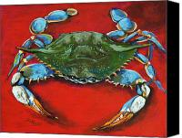 Louisiana Seafood Canvas Prints - Louisiana Blue on Red Canvas Print by Dianne Parks