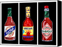 Spice Painting Canvas Prints - Louisiana Hot Sauce Bottles Black Canvas Print by Elaine Hodges