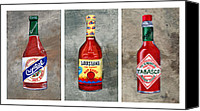 Spice Painting Canvas Prints - Louisiana Hot Sauce Bottles Canvas Print by Elaine Hodges