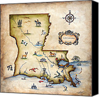 Maps Canvas Prints - Louisiana Map Canvas Print by Judy Merrell