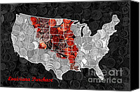 Map Art Canvas Prints - Louisiana Purchase Coin Map . v1 Canvas Print by Wingsdomain Art and Photography