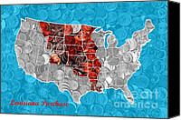 Wide Canvas Prints - Louisiana Purchase Coin Map . v2 Canvas Print by Wingsdomain Art and Photography
