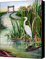 Road Painting Canvas Prints - Louisiana Wetlands Canvas Print by Elaine Hodges