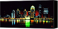 Skylines Painting Canvas Prints - Louisville in black light Canvas Print by Thomas Kolendra