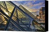 The Louvre Museum Canvas Prints - Louvre Angles Canvas Print by Chuck Kuhn