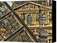 The Louvre Museum Canvas Prints - Louvre Paris Canvas Print by Chuck Kuhn