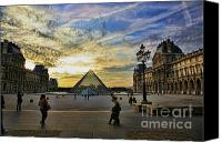 The Louvre Museum Canvas Prints - Louvre Sunset IV Canvas Print by Chuck Kuhn