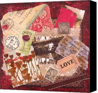 Signed Mixed Media Canvas Prints - Love Affair Collage Painting -Vintage Style Romance Mixed Media Original Canvas Print by Catherine Jeltes
