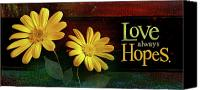 Johnson Mixed Media Canvas Prints - Love Always Hopes Canvas Print by Shevon Johnson