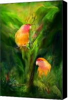 Tropical Bird Art Canvas Prints - Love Among The Bananas Canvas Print by Carol Cavalaris